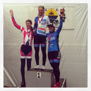 Emily Flynn, left, on the GP IGA Ste-Martine podium with winner Kirsti Lay and third-place finisher Adriane Provost.